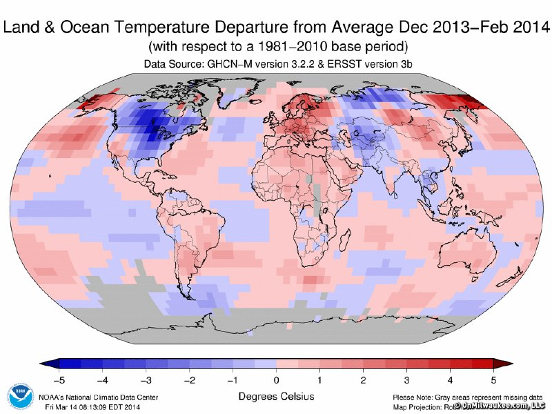 Temperatures across the northeastern United States and Canada were further below normal this winter than anywhere else in the world.