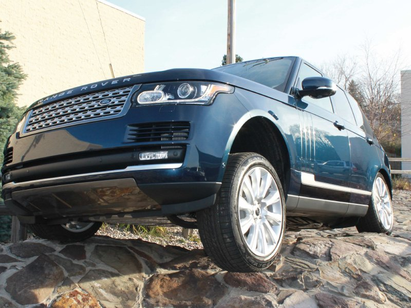 The 2013 Range Rover on the obstacle course at Land Rover of Waukesha.