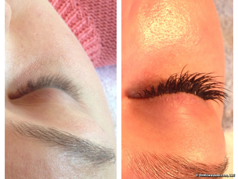 Before and after: eyelash extensions, one of Lindsay's five fall favorites.