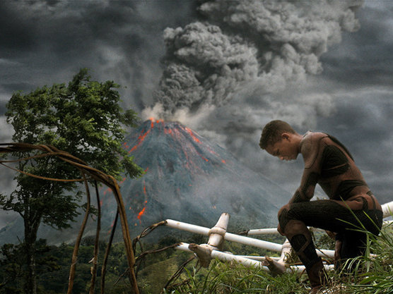 "Jaden Smith takes a knee in ""After Earth,"" now playing."