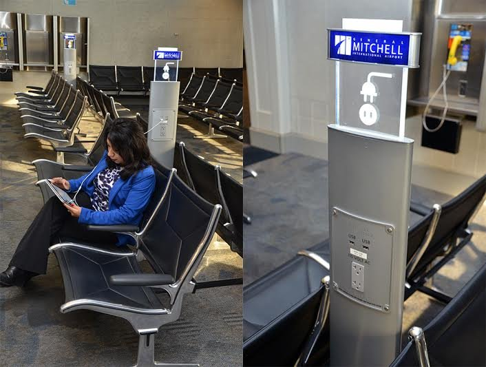 Some Of The New Charging Stations Recently Installed In General Mitchell International Airport