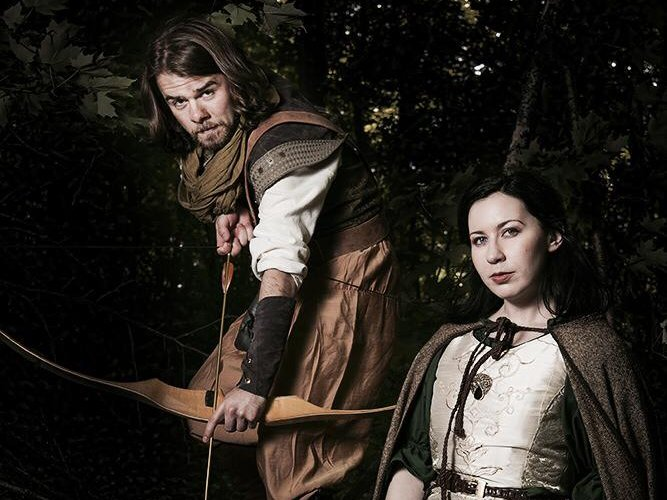 "Liz Shipe and Zachary Thomas Woods star as the legendary Maid Marian and Robin Hood in ""A Lady in Waiting."""