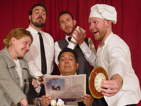 "The cast of the Windfall Theatre's production of ""An Empty Plate in the Cafe du Grand Boeuf."""