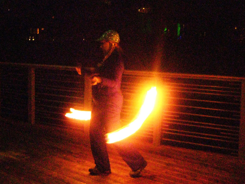 Angela marveled at the fire dancers performing at Art Milwaukee's Art Jamboree.