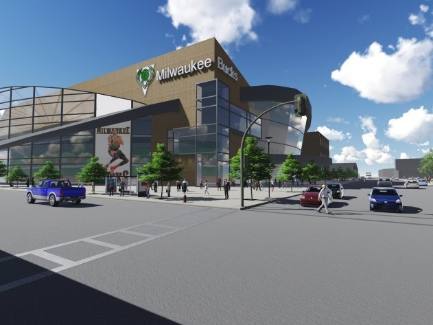 A rendering of how a new arena for the Milwaukee Bucks could look Downtown.