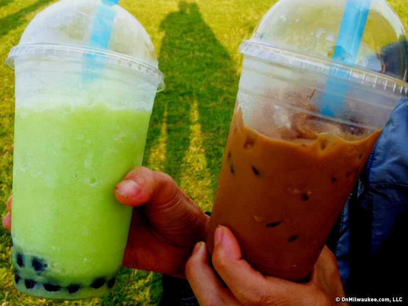 """CocoMoon"" Boba Tea and Vietnamese iced coffee from ""Pho King."""