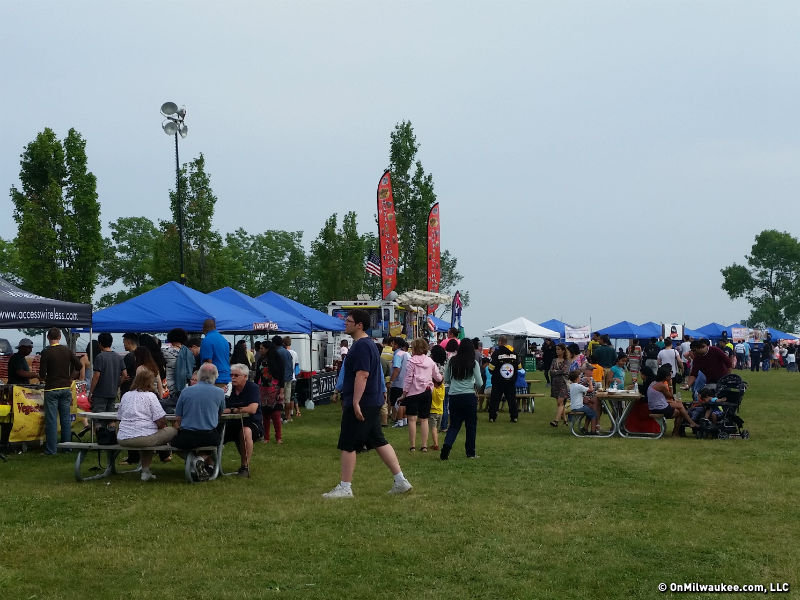 People crowd the food vendors at Asia Fest.