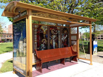 Cathedral Square bus stop gets a St. Josaphat Basilica makeover