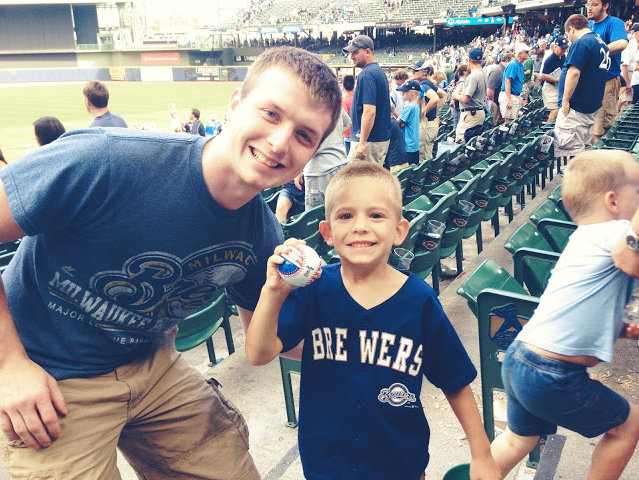 """Mystery Man"" Chad and blogger Sarah Kooiman's son Isaiah at Miller Park on Sunday."
