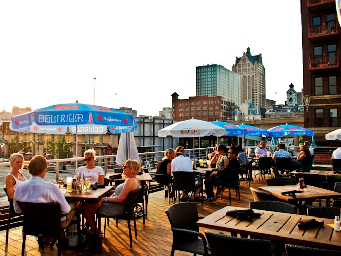 Diners at a pre-opening party on the rooftop deck at Cafe Benelux Tuesday night.