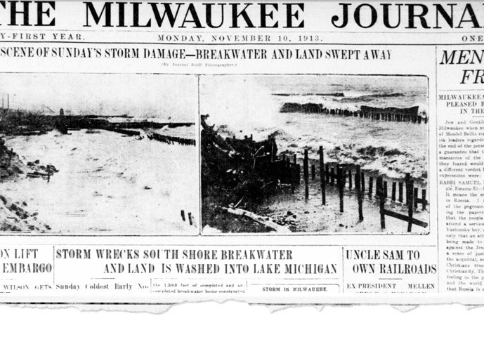 """Breakwater and pile drivers wrecked on South Shore. Sections of the lake shore bluff washed away."""