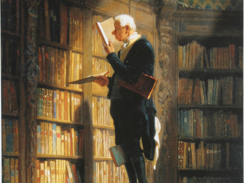 "A detail of ""The Bookworm,"" by German painter Carl Spitzweg, in the MPL collection."