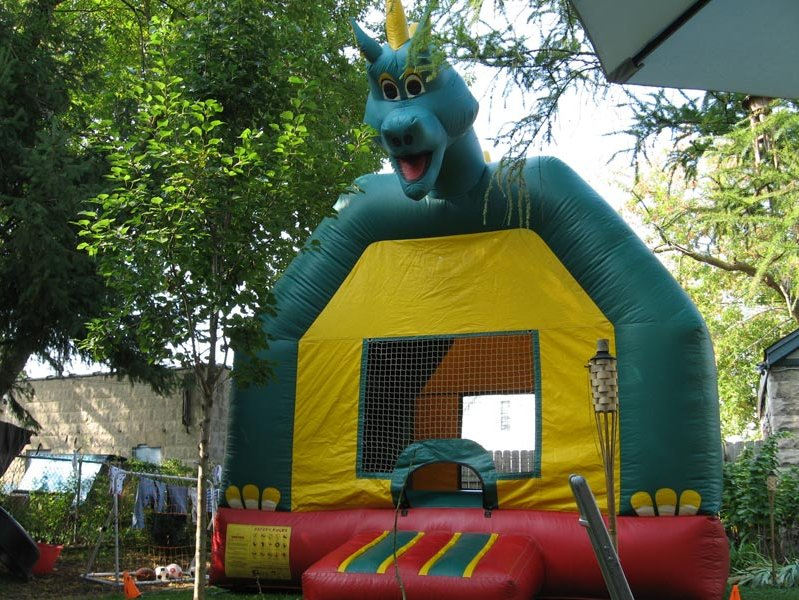 The dragon head bobbed up and down when kids bounced.