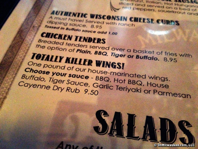 Totally Killer Wings at the Milwaukee Brat House.