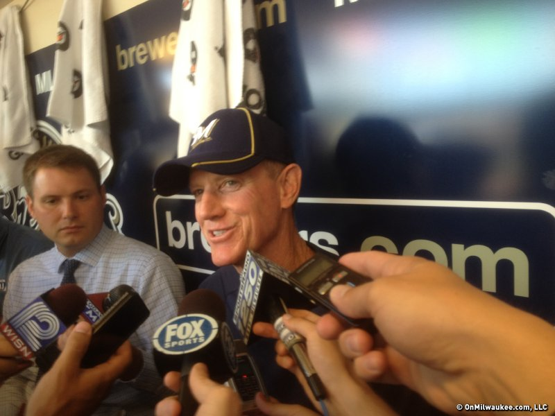Brewers manager Ron Roenicke was all smiles in talking about the team drafting his son, Lance.