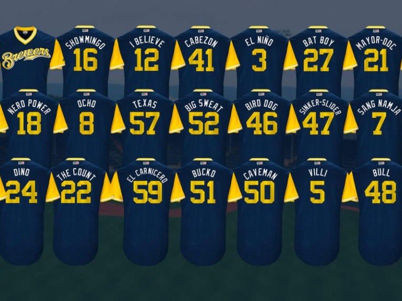 The Brewers' Players Weekend jersey nicknames, ranked