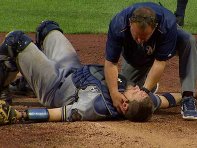 Brutal home plate collision a bad break for Vogt, Brewers and MLB