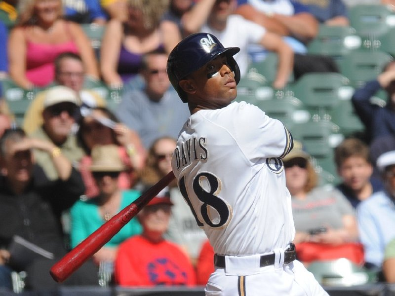 Khris Davis taking a practice swing (Photo by David Bernacchi, IWSPhotos)