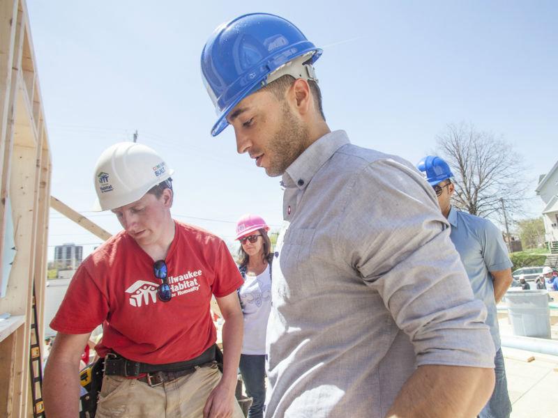 Milwaukee Garage Builders #16: Brewers Players Host Milwaukee Habitat Garage Build At Miller Park - OnMilwaukee Sports