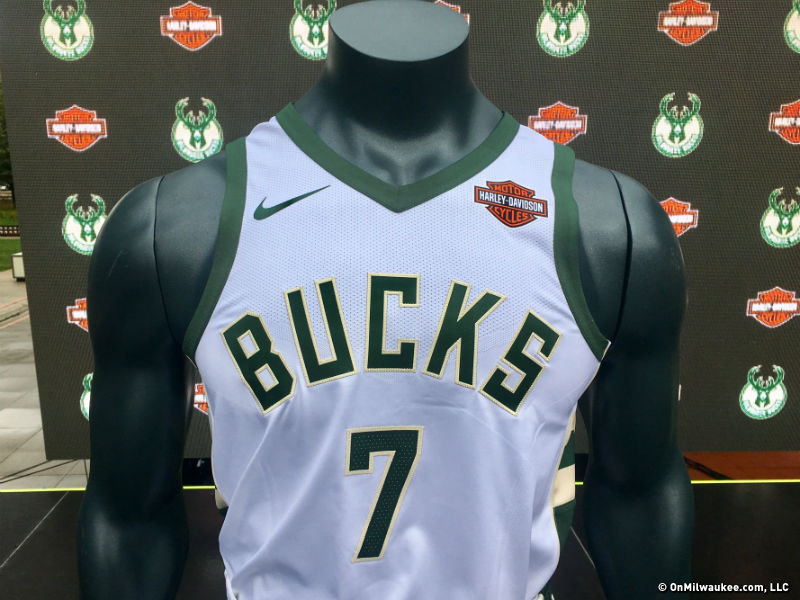 f6fbd25a1f6 The Bucks unveiled the team s new sponsored jersey patch at the  Harley-Davidson Museum today.