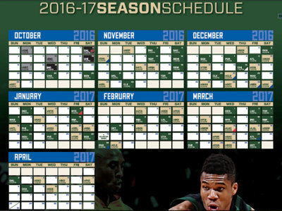 Bucks announce 2016-17 regular season schedule, including 9 national TV games Image