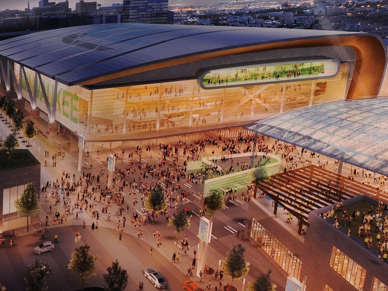 A rendering of a new Downtown Milwaukee arena complex.