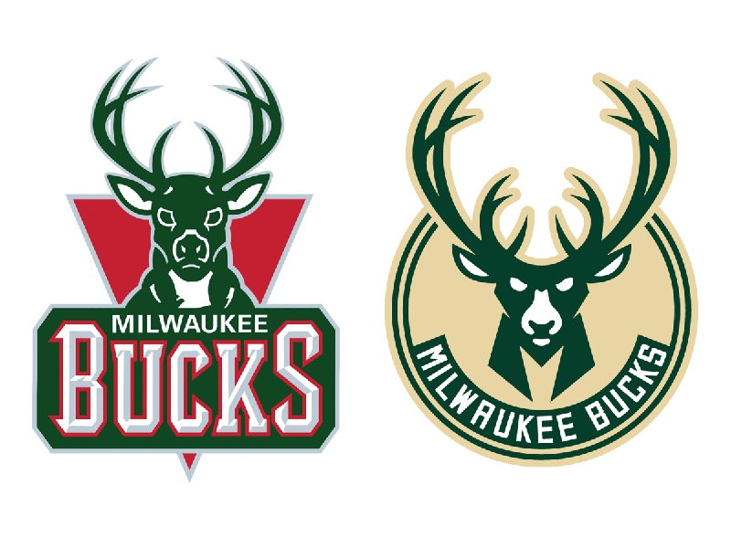The Milwaukee Bucks' current logo versus their new logo.