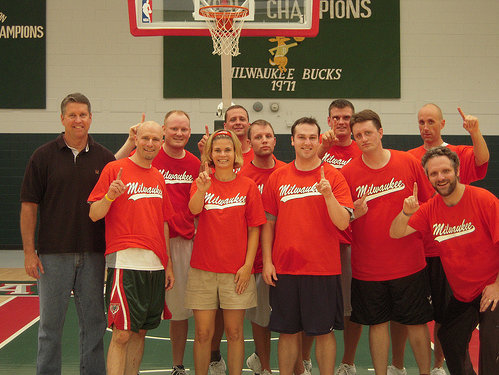 The red team: 2-0 and champions at the Bucks media game.