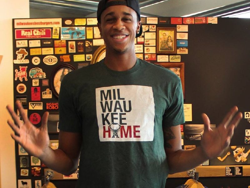 John Henson Models The Milwaukee Home T Shirt Design, Which Ticket Buys Can  Buy On Dec. 11. (Photo: Melissa Thornton / Milwaukee Home)