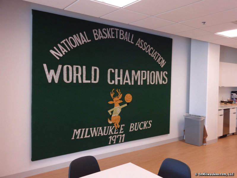 The original championship banner hangs in the work cafe.