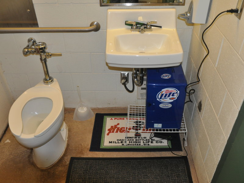 The redecorated bathroom bullpen of Miller Park.
