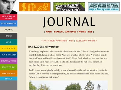 David Byrne writes about his recent Milwaukee visit in his blog.