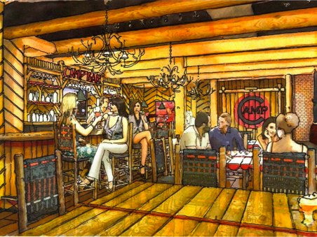 A rendering of Camp Bar.