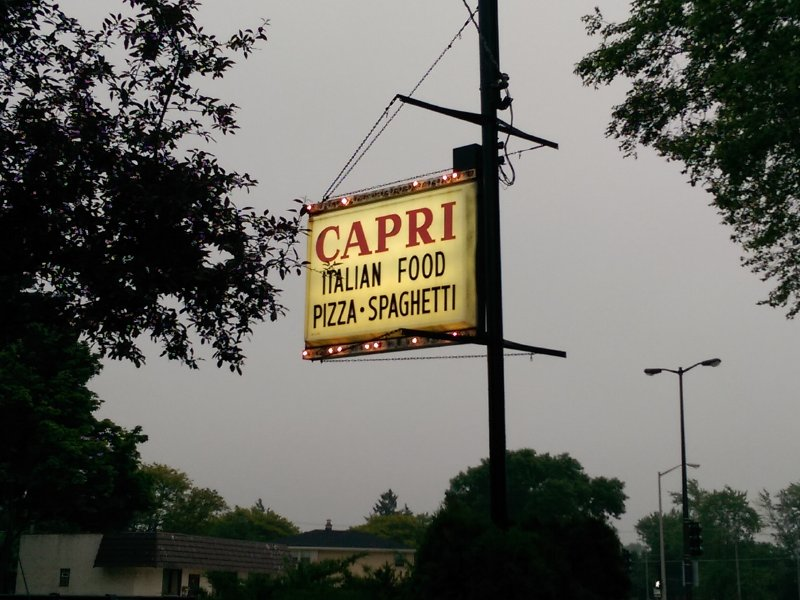 The classic roadside sign, left over by the restaurant's old owners.