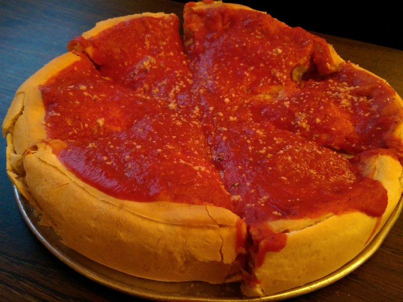 A Chicago-style stuffed pizza.