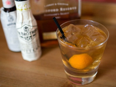 Old Fashioned cocktail with Woodford Reserve Bourbon, Fee Brothers Old...