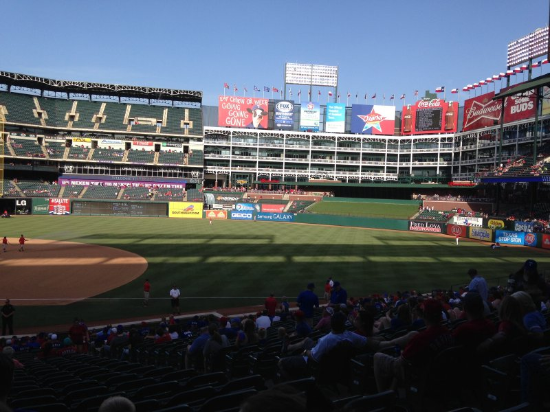 The Texas Rangers' stadium, Globe Life Park, is one of the best we've seen on the trip.
