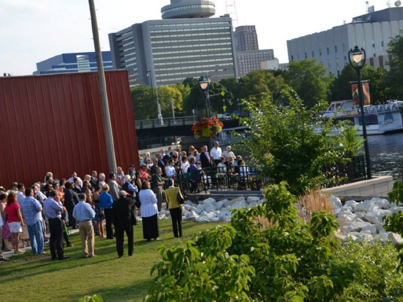 Nearly 100 friends, family and civic leaders helped dedicate the memorial on Wednesday.