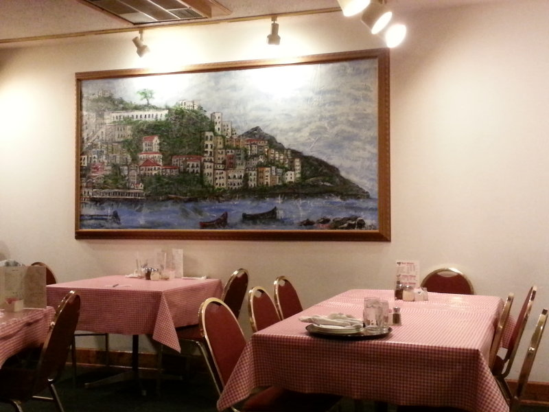 The large dining area features Italian decor and scenic murals.