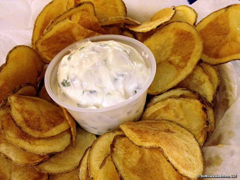 The house-made potato chips are a popular starter.