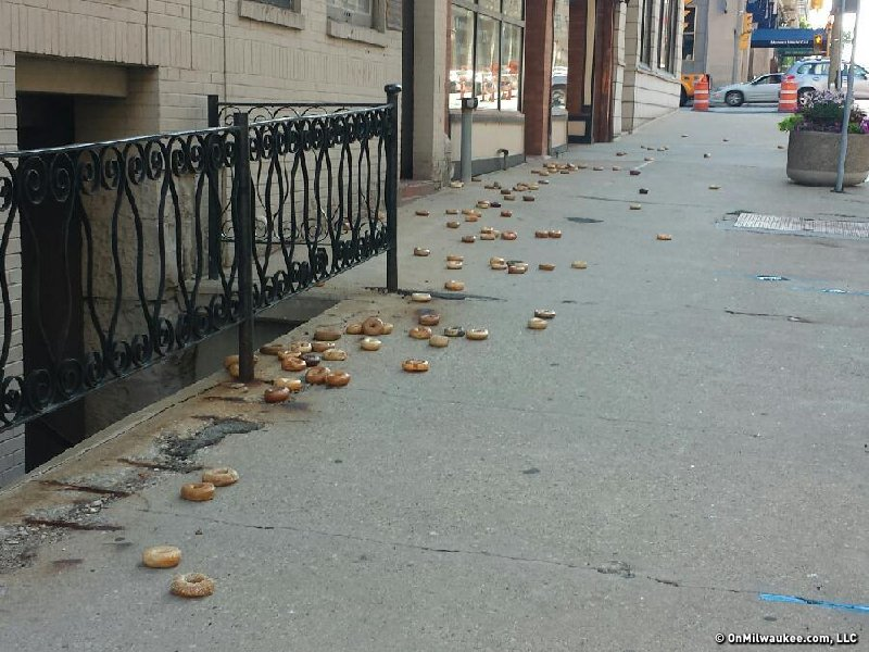 A trail of bagels on Mason Street in Downtown Milwaukee on July 14 at 7:45 a.m.