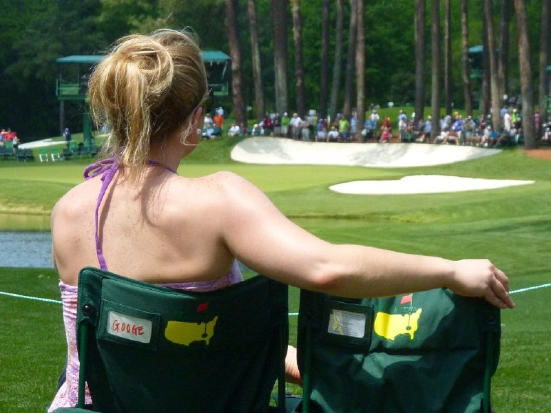 Caitlin Moyer's first drape, at the Masters in Augusta, Ga.