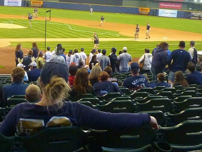 Caitlin Draping at the Brewers game on Easter Sunday.