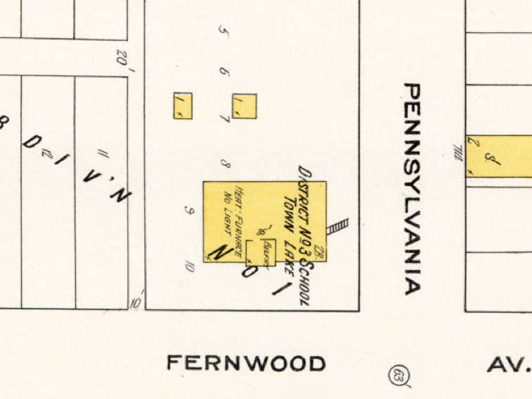 The 1910 Sanborn map image showing the school on Fernwood and Pennsylvania, in what is now Bay View.