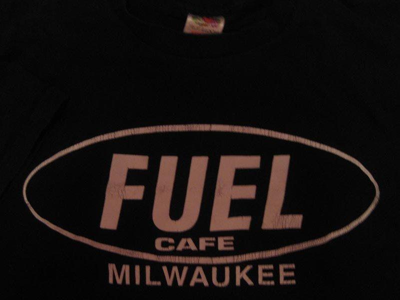 An original Fuel Cafe T-shirt, circa 1994.