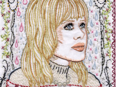 Hart's pop icon embroidery hangs at Paper Boat Image