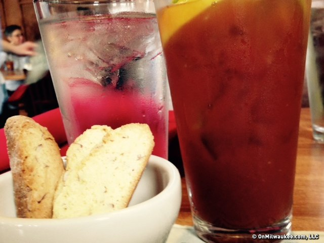 House-made biscotti and a bloody mary are the perfect addition for brunch.