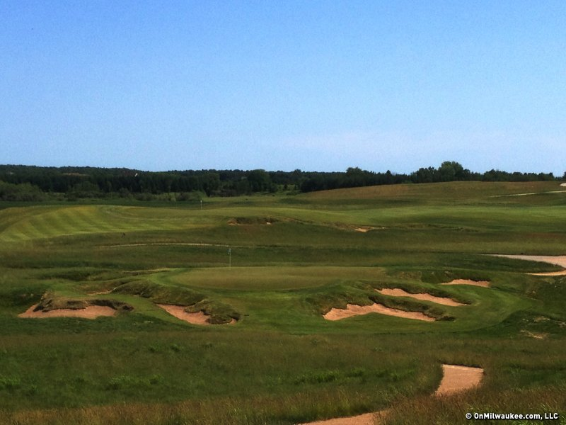 The par 3, ninth hole at Erin Hills provides great drama for even the average player.