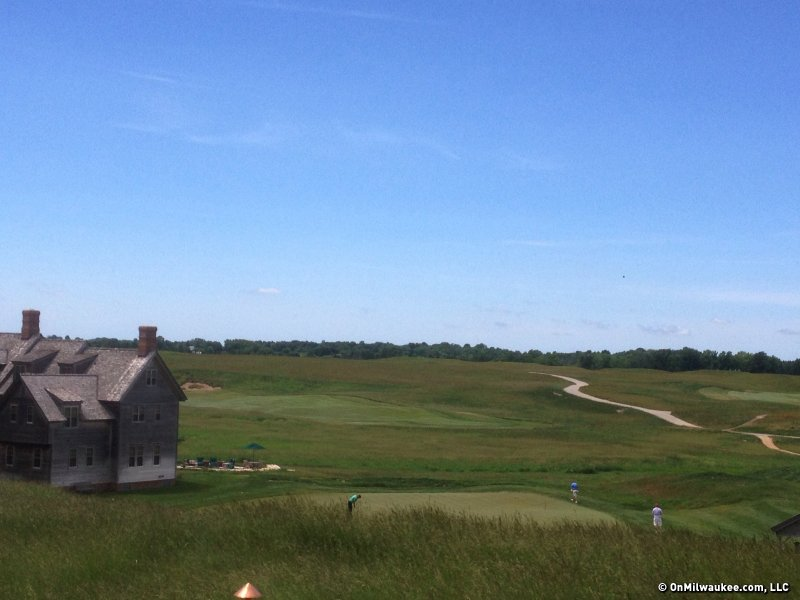 The view from new clubhouse steps atop Erin Hills. Such vistas create drama around the course.