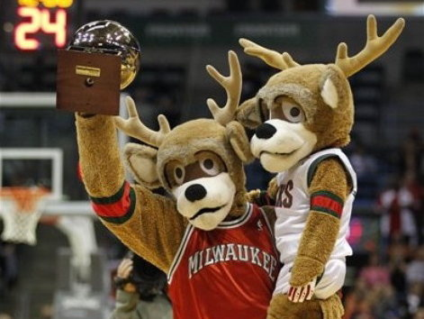 Bango Buck, shown with his NBA Mascot of the Year trophy and Bango Jr., is a national figure.
